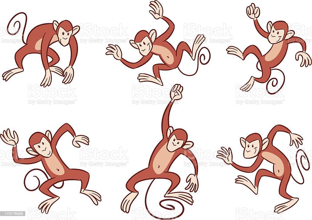 Cartoon monkeys in funny poses vector art illustration