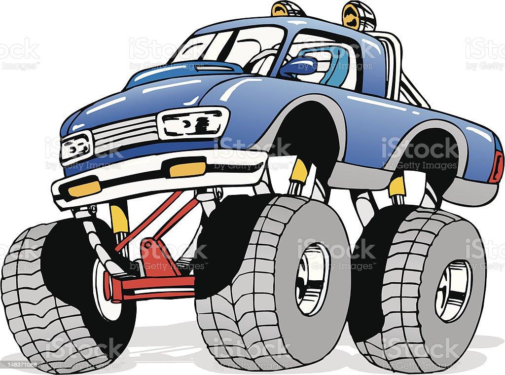 Cartoon Monster 4x4 Truck royalty-free stock vector art