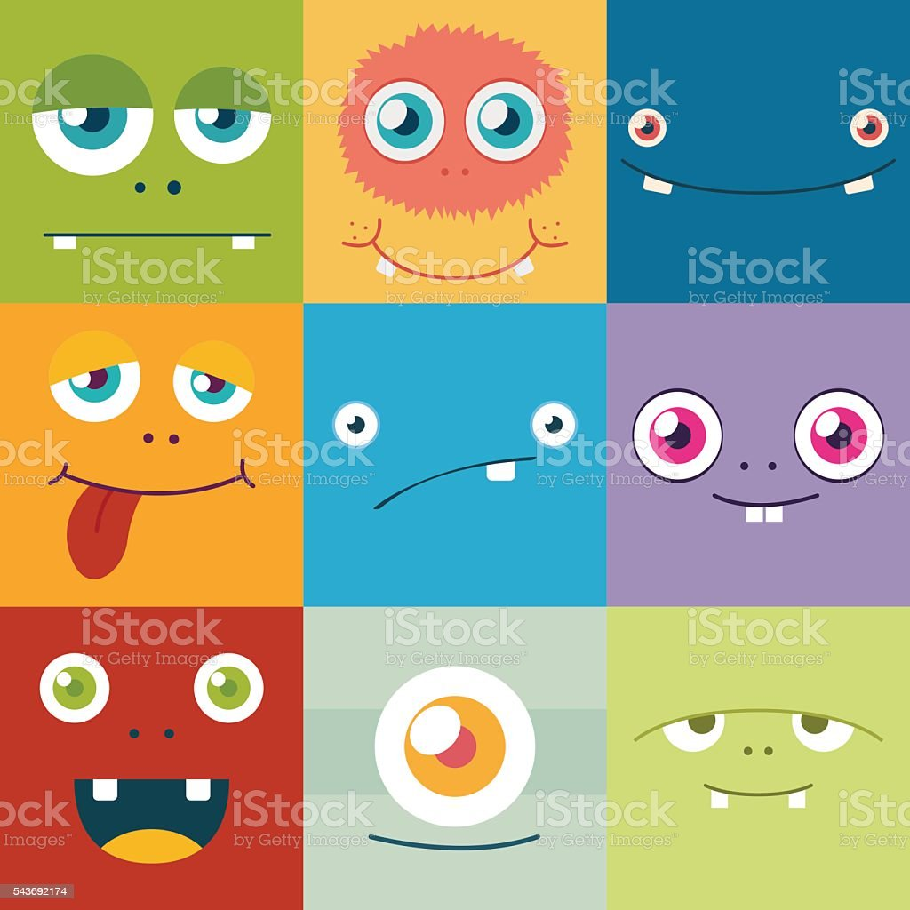 cartoon monster faces vector set. cute square avatars and icons vector art illustration