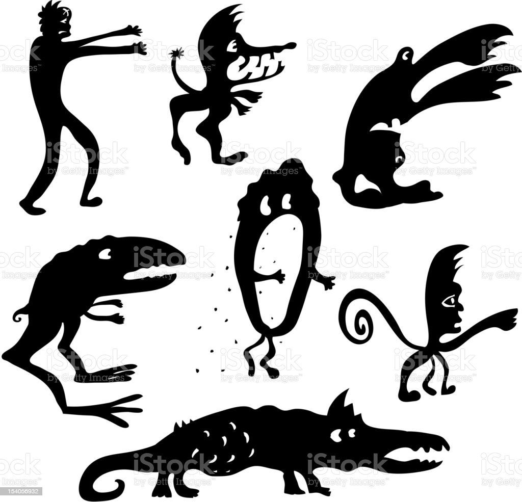 Cartoon monsters silhouettes royalty-free stock vector art