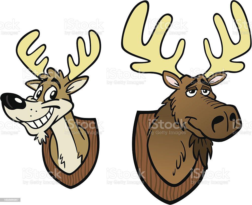 Cartoon Moose and Deer Heads royalty-free stock vector art