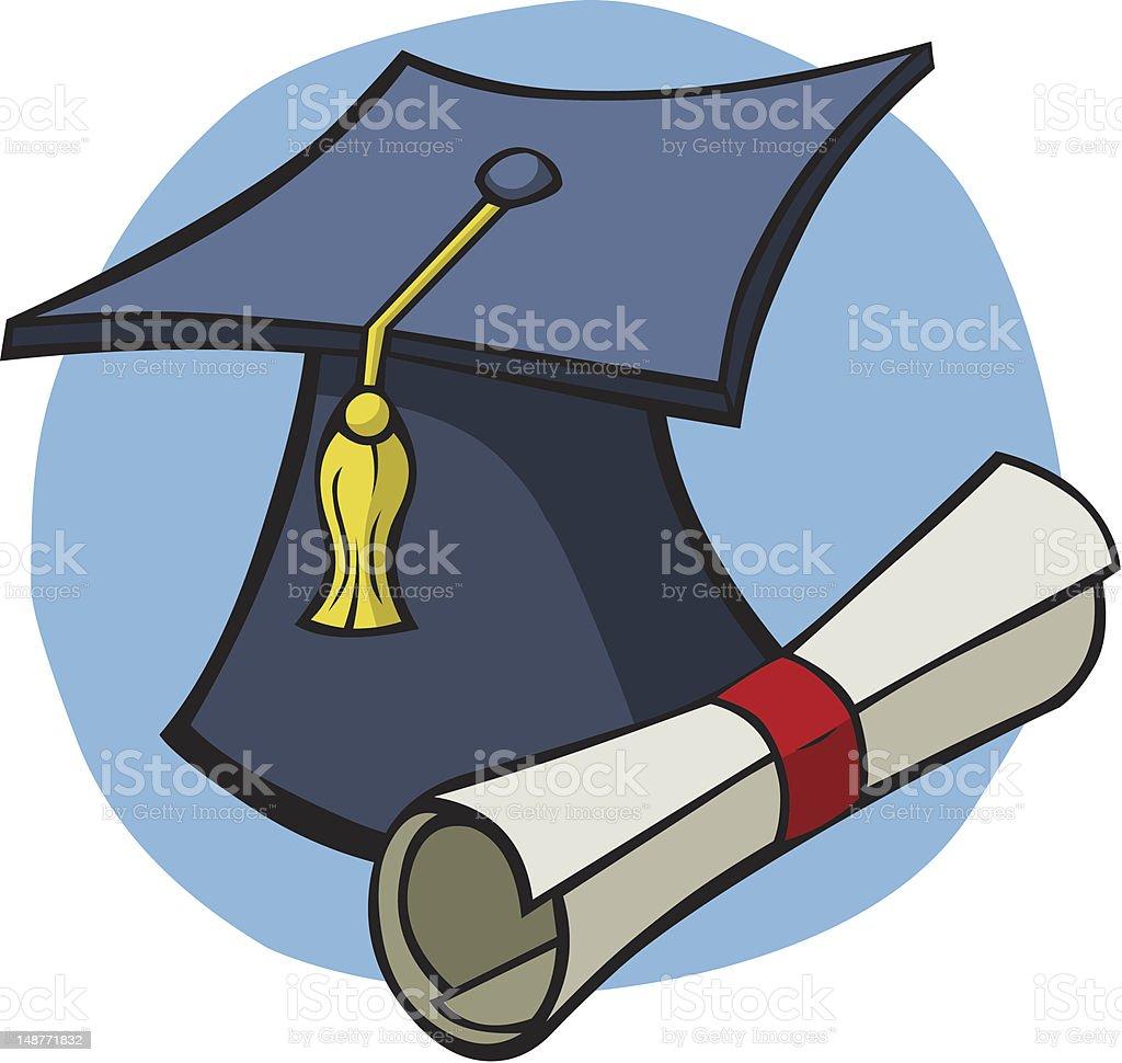 Cartoon Mortar Board & Diploma royalty-free stock vector art