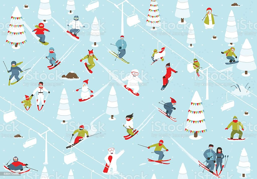 Cartoon Mountain Ski Resort Seamless Pattern vector art illustration