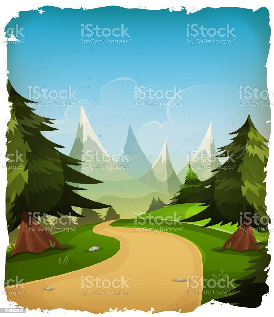 Cartoon Mountains Landscape Background vector art illustration