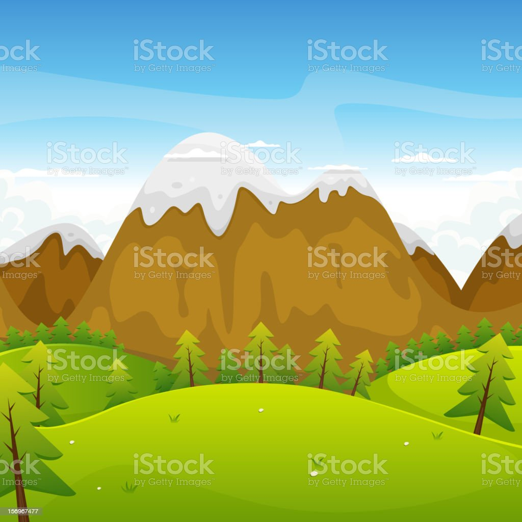 Cartoon Mountains Landscape royalty-free stock vector art