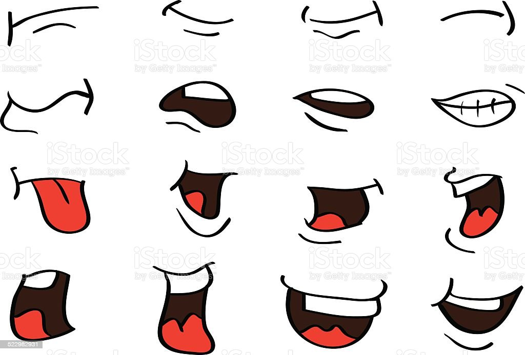 Cartoon Mouth Expressions Vector Designs Isolated on White vector art illustration
