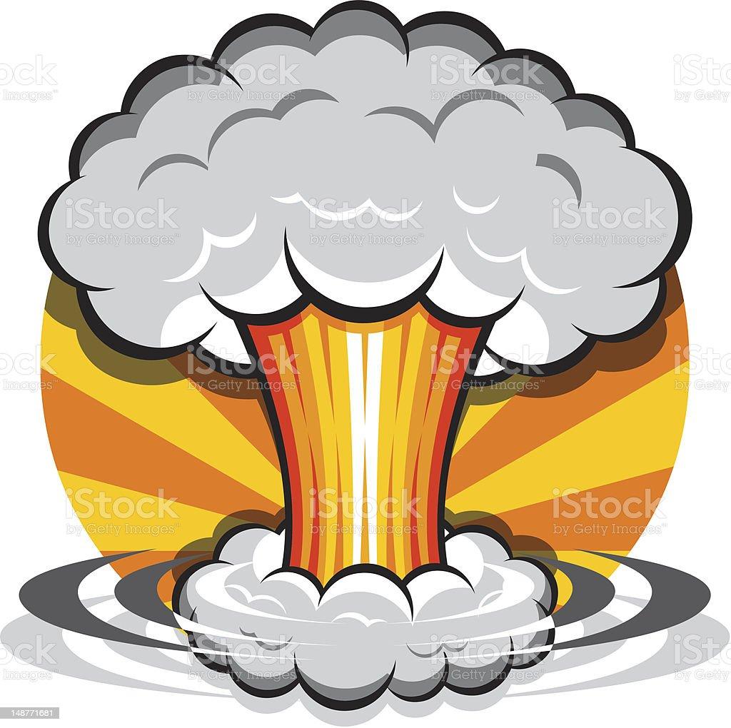 Cartoon Mushroom Cloud vector art illustration