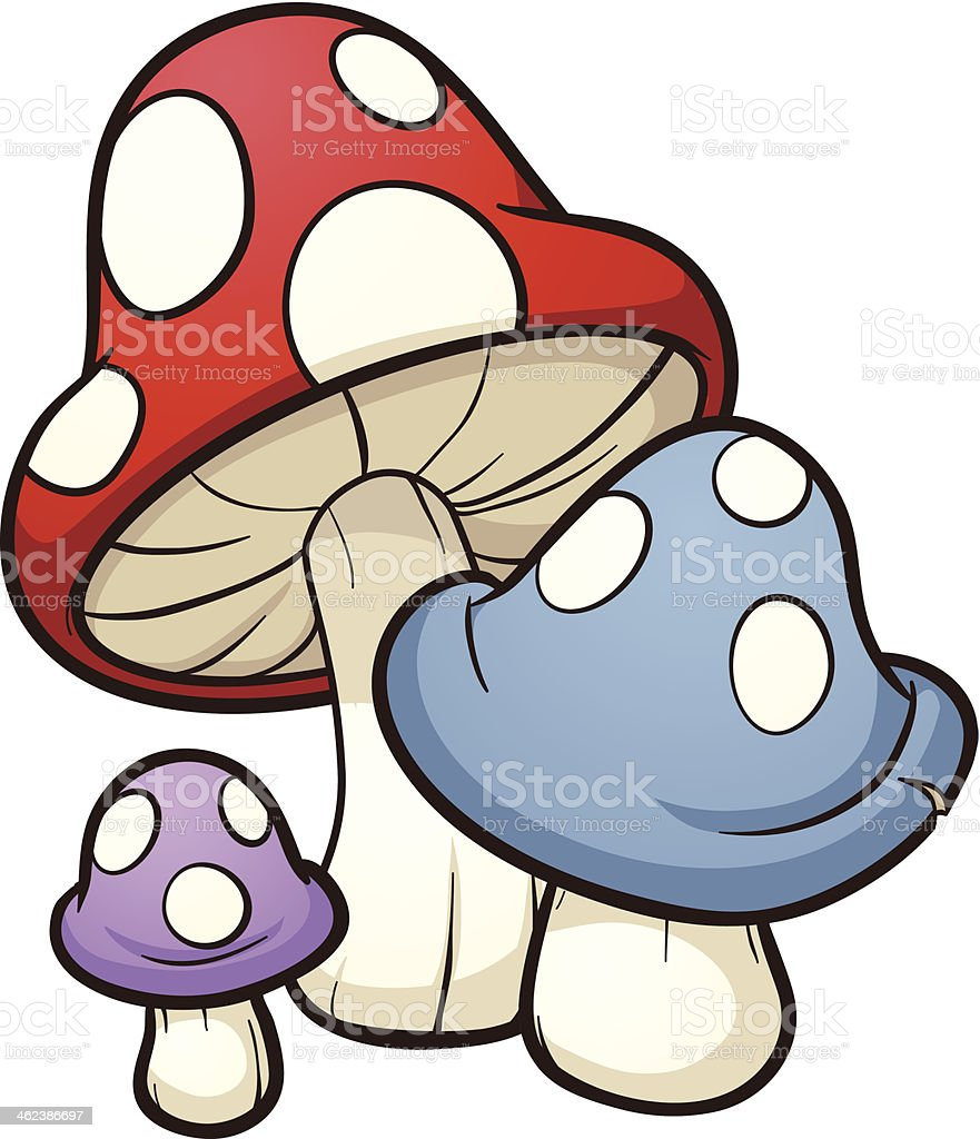 Cartoon mushrooms vector art illustration