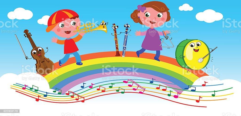 Cartoon musical instruments and children vector art illustration