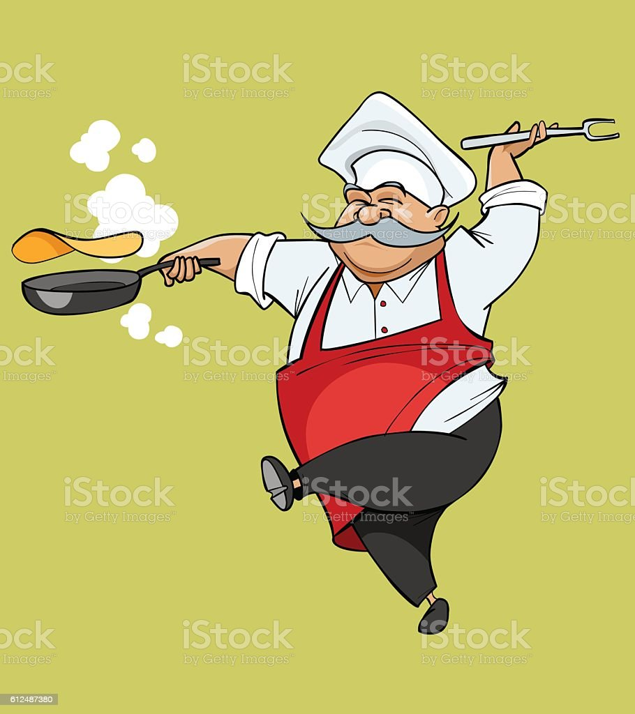cartoon mustachioed chef joy jumping with a frying pan vector art illustration