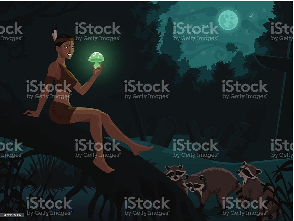 Cartoon Native Woman Showing Glowing Mushroom to Raccoons royalty-free stock vector art