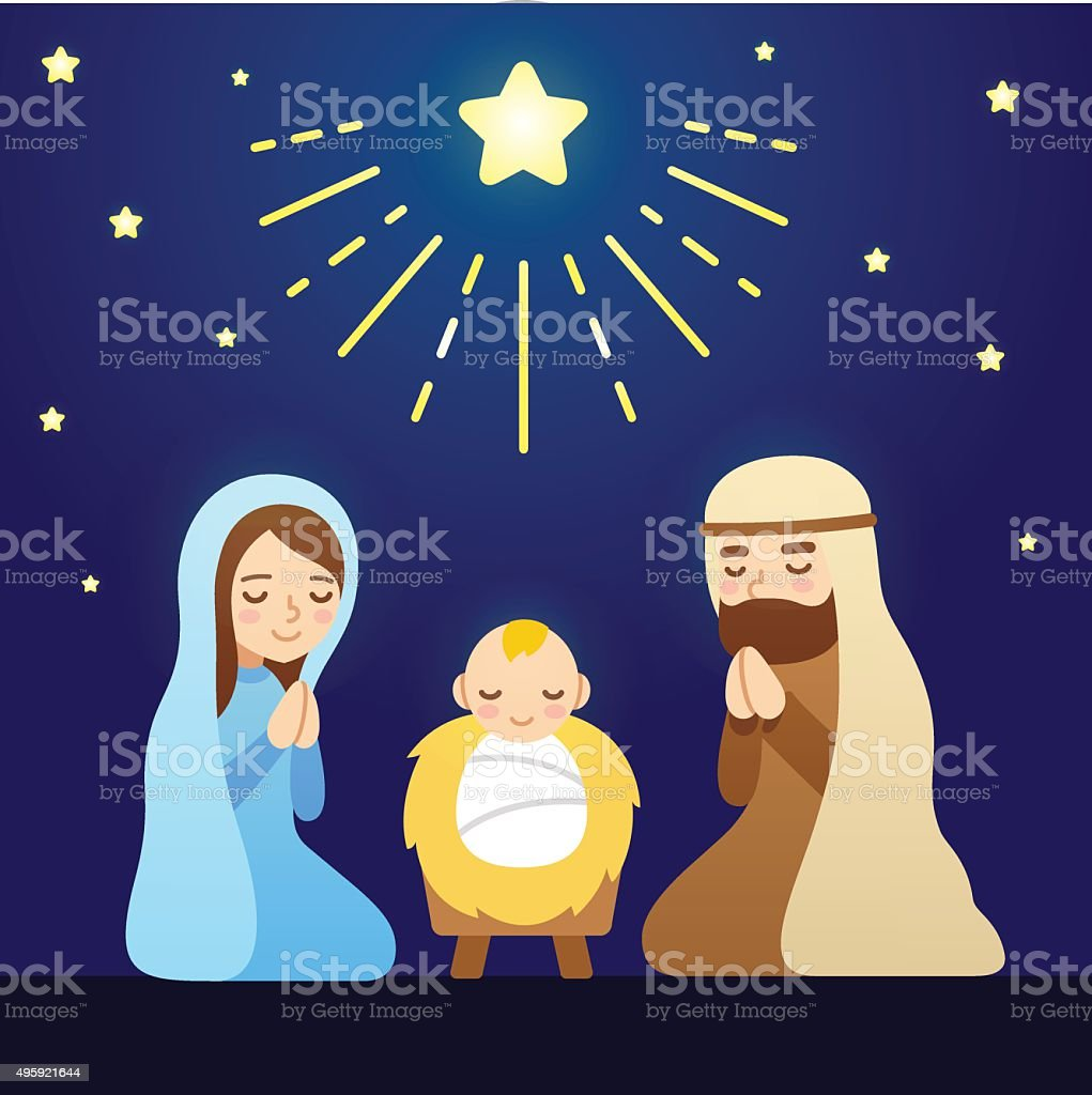 Cartoon Nativity Scene vector art illustration