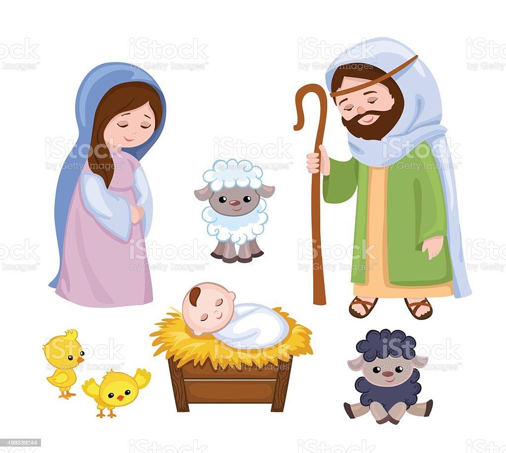 Cartoon nativity scene with holy family vector art illustration