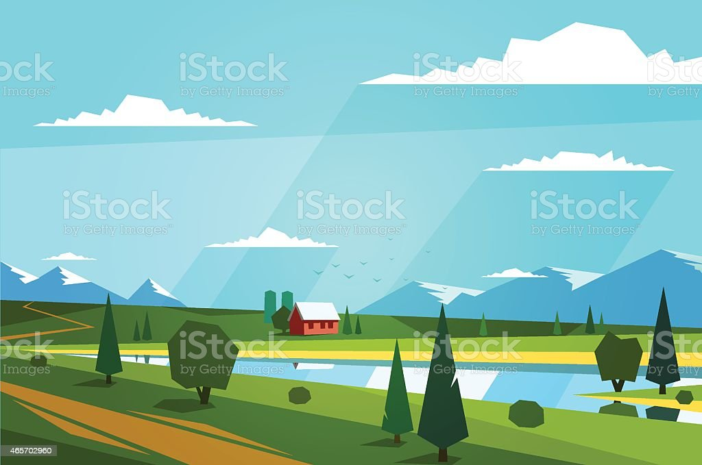 Blue sky and green meadows, little house between it. Vector...