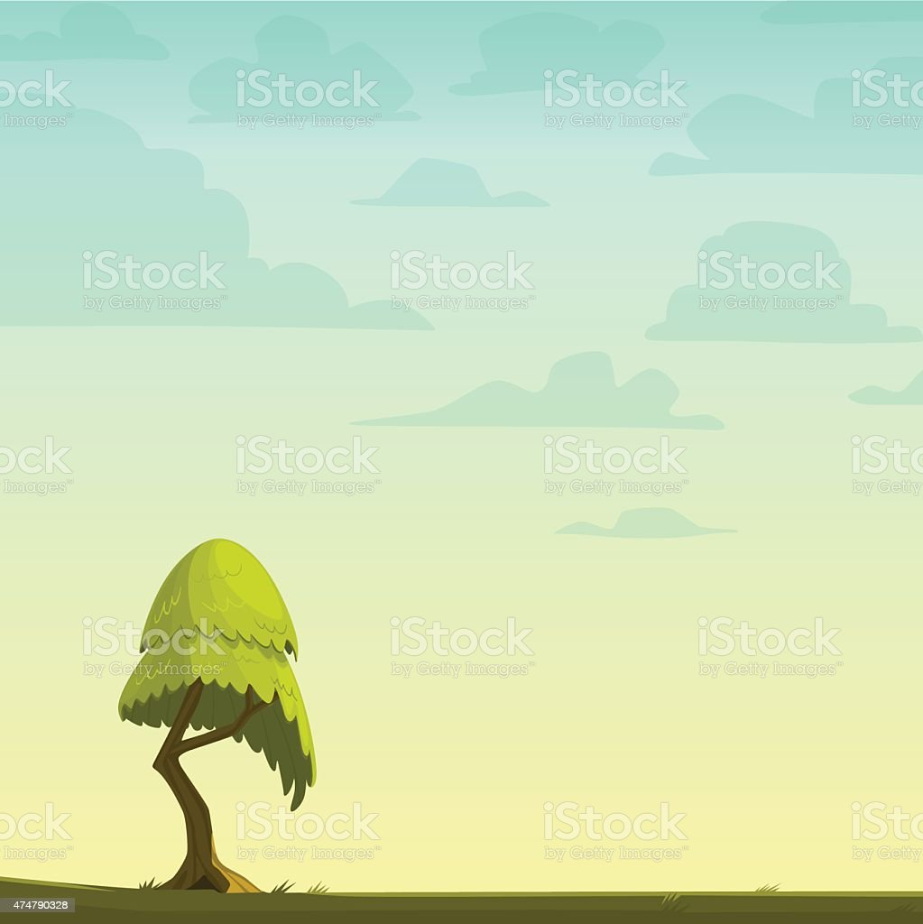 Cartoon nature background with a tree. Vector illustration. vector art illustration