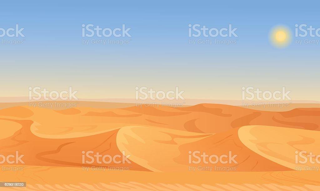 Cartoon nature empty sand desert landscape vector illustration. vector art illustration