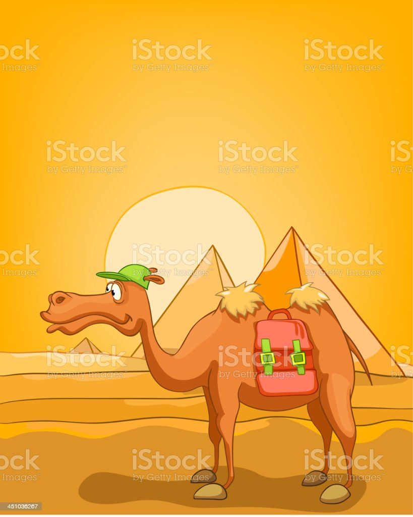 Cartoon Nature Landscape Pyramids of Egypt vector art illustration