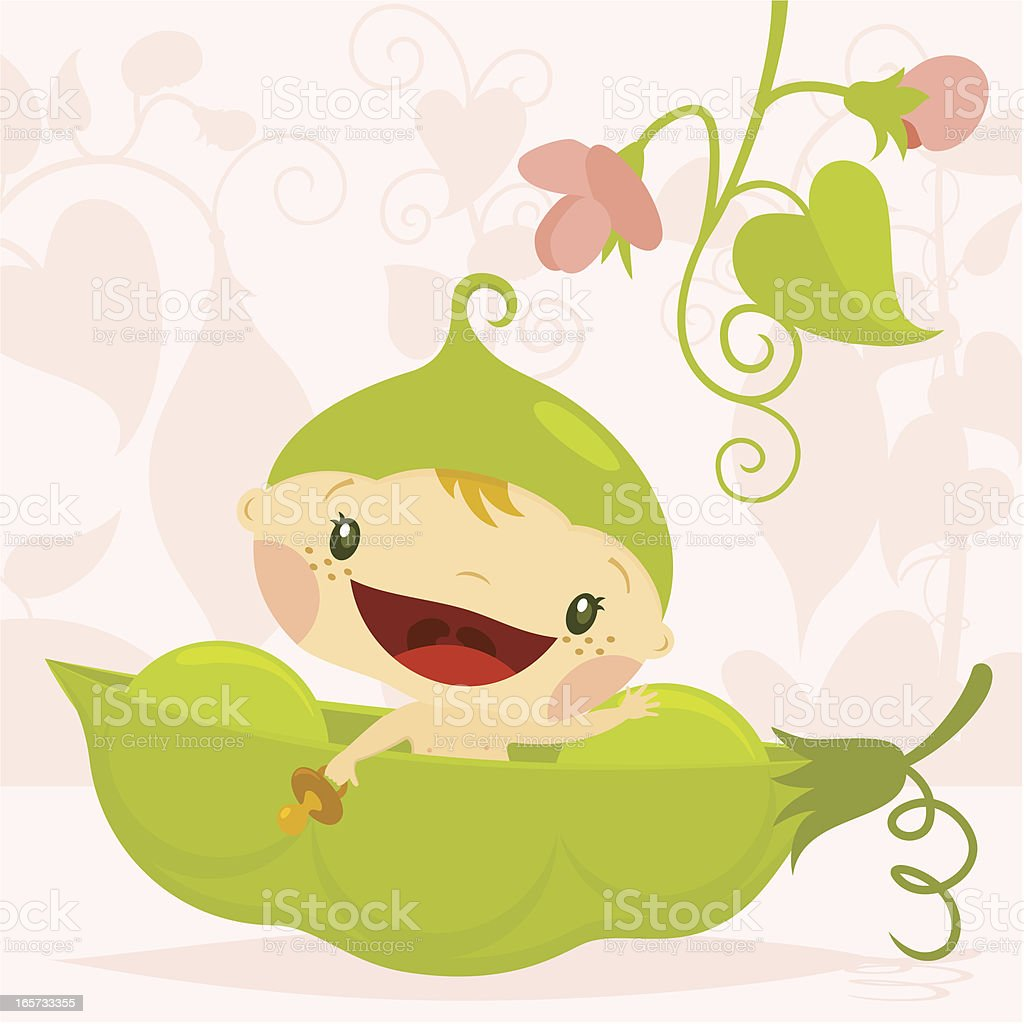 A cartoon newborn in a pea pod smiling and blushing royalty-free stock vector art