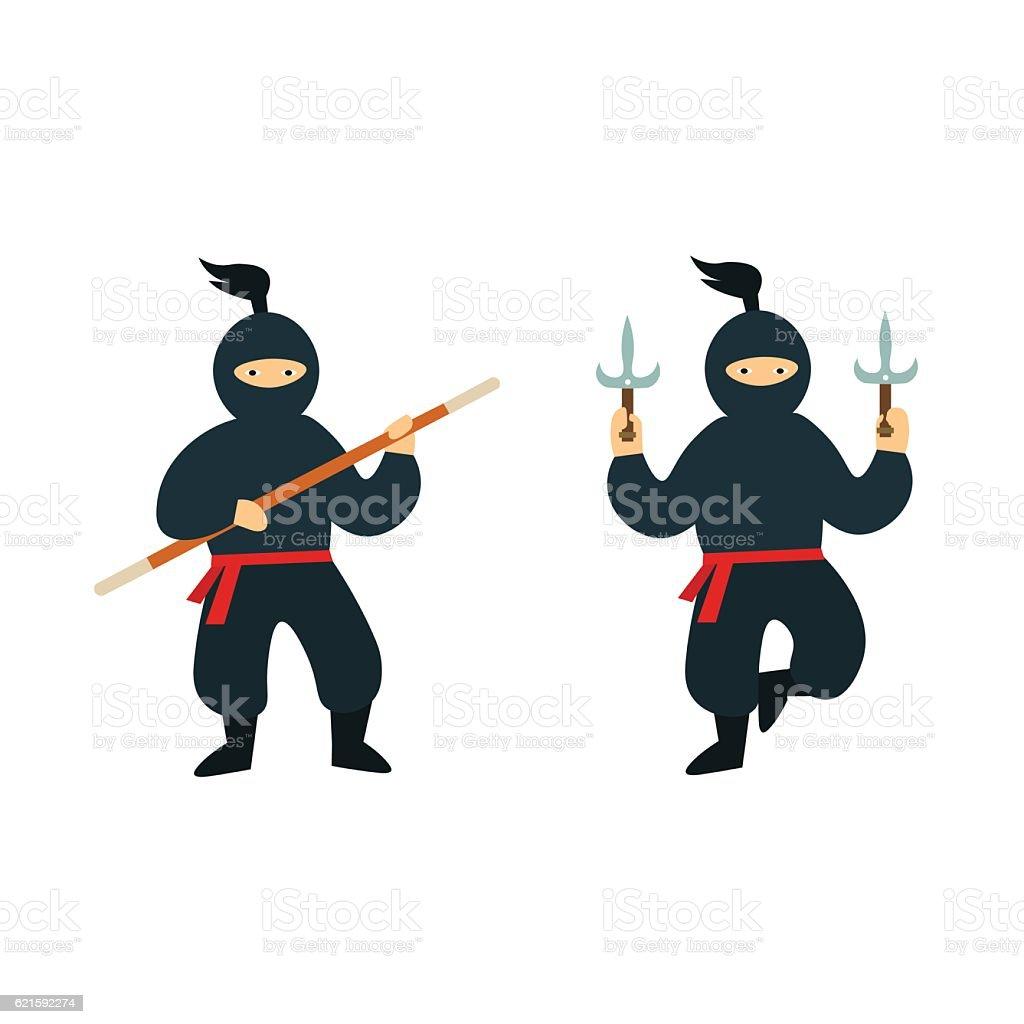Cartoon Ninja Set. Vector vector art illustration
