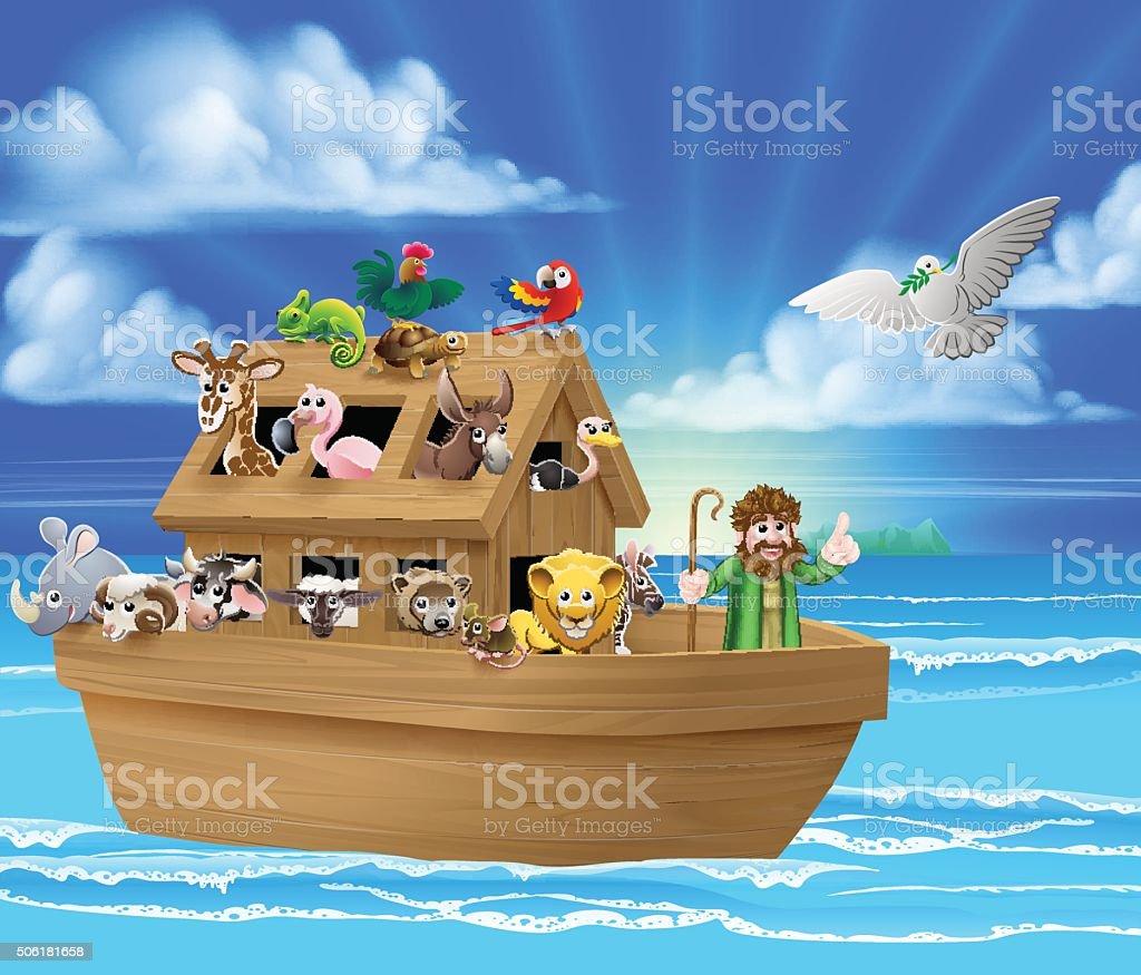 Cartoon Noahs Ark vector art illustration