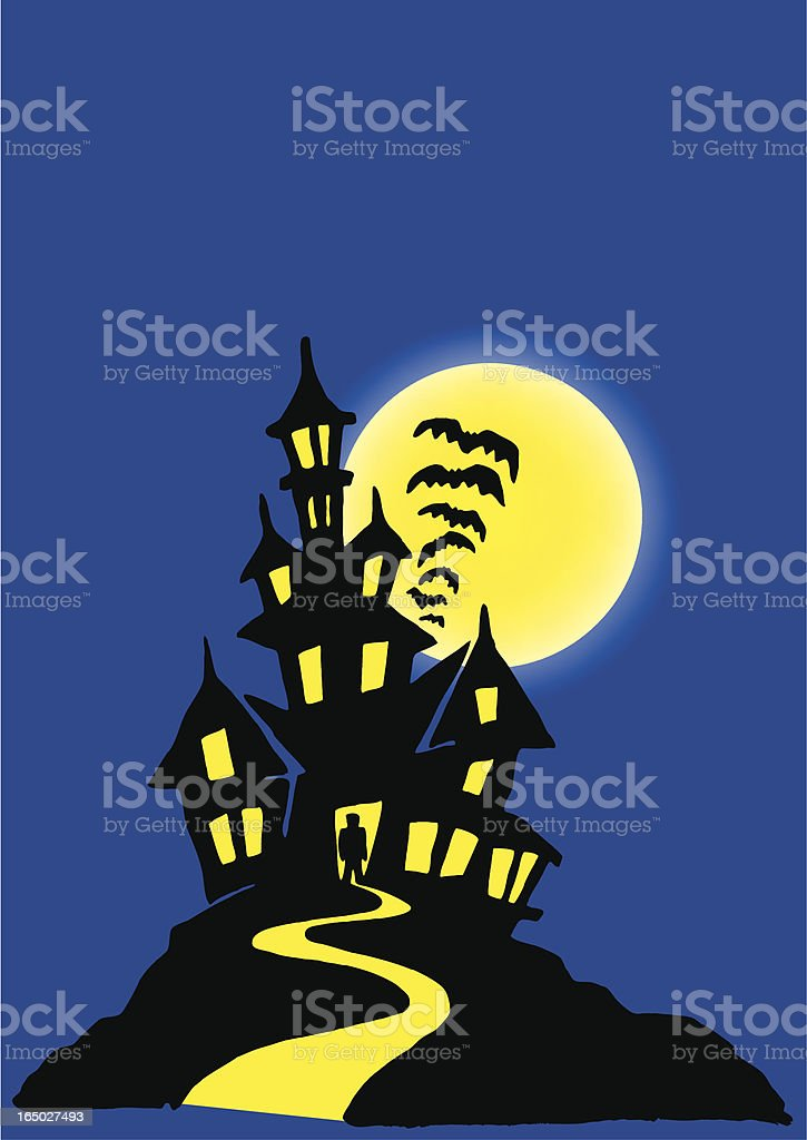 Cartoon of a black haunted house with a rising yellow moon royalty-free stock vector art