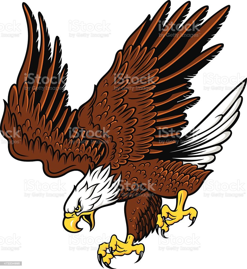 Cartoon of a brown and white eagle zooming in for attack vector art illustration