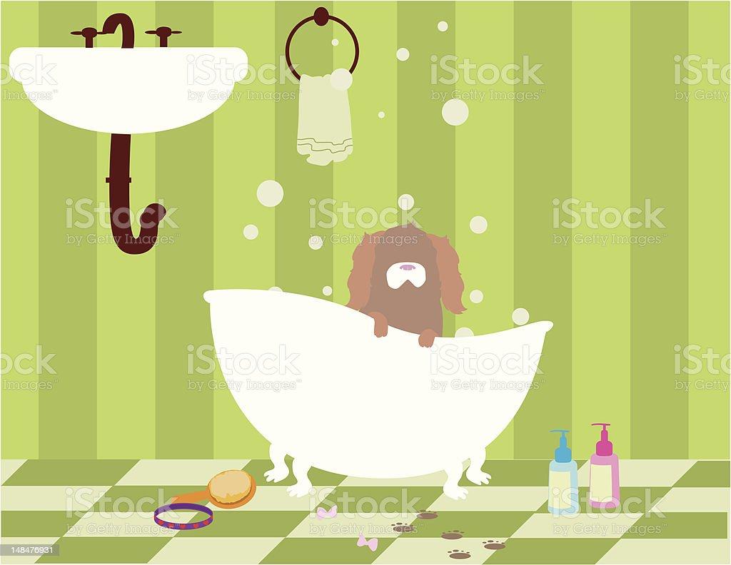 Cartoon of a brown dog taking a bath royalty-free stock vector art