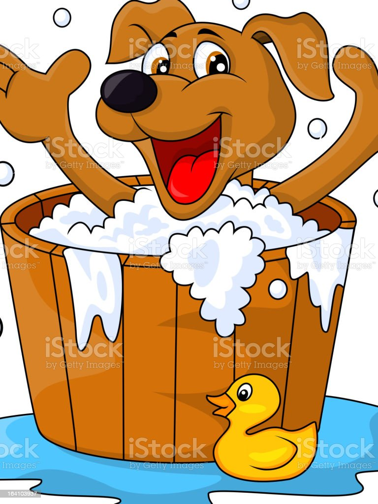 Cartoon of a brown dog taking a bath with a rubber duckie vector art illustration