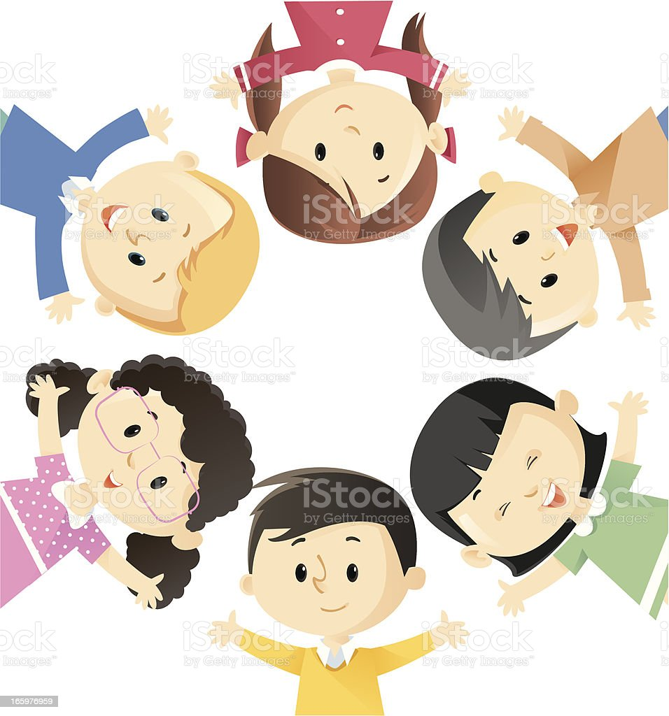 Cartoon of a circle of children wearing different colors royalty-free stock vector art