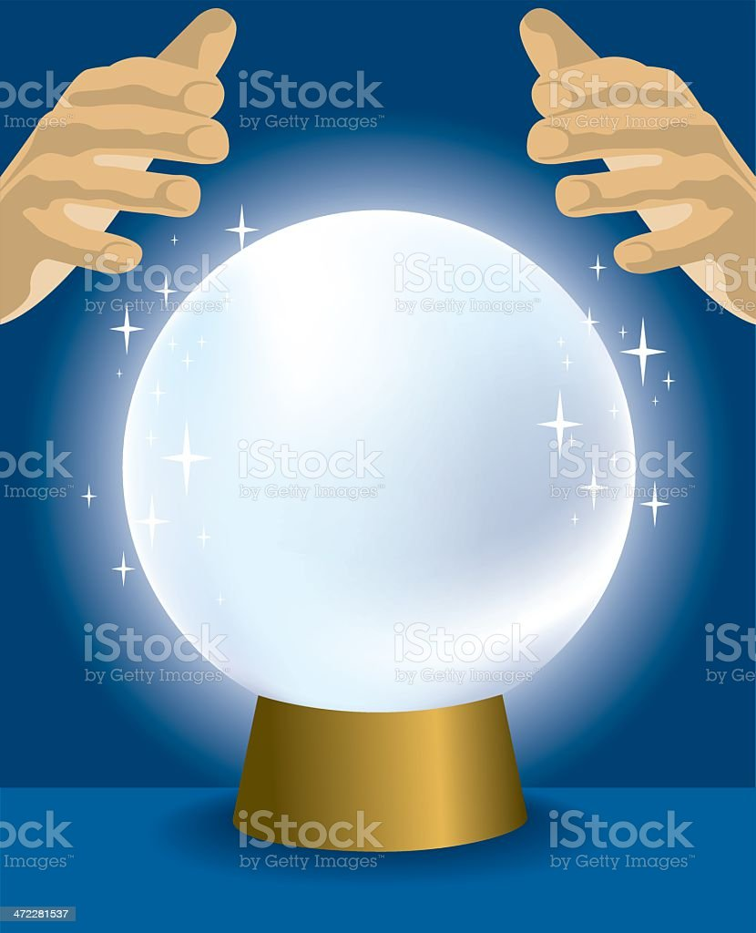 Cartoon of a crystal ball with hands hovering over it vector art illustration