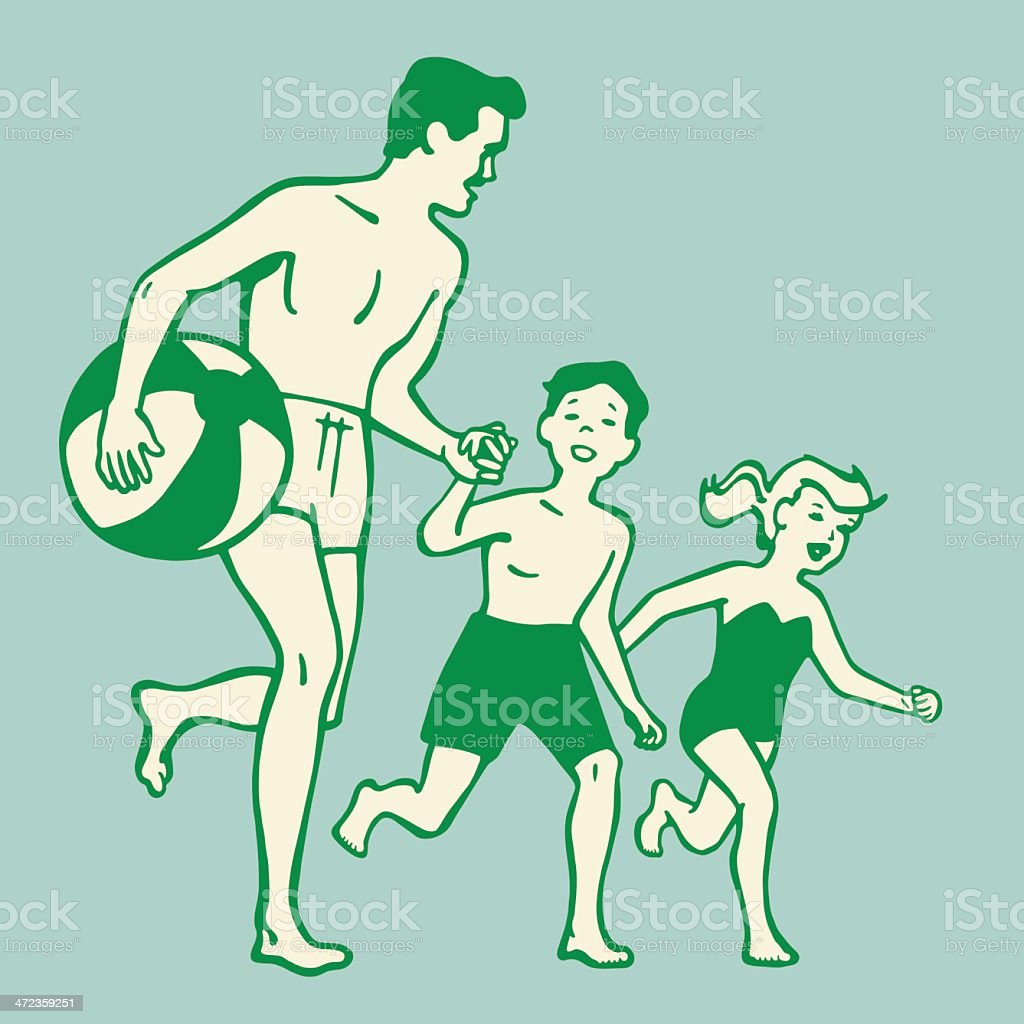 A cartoon of a father and kids running to the beach vector art illustration