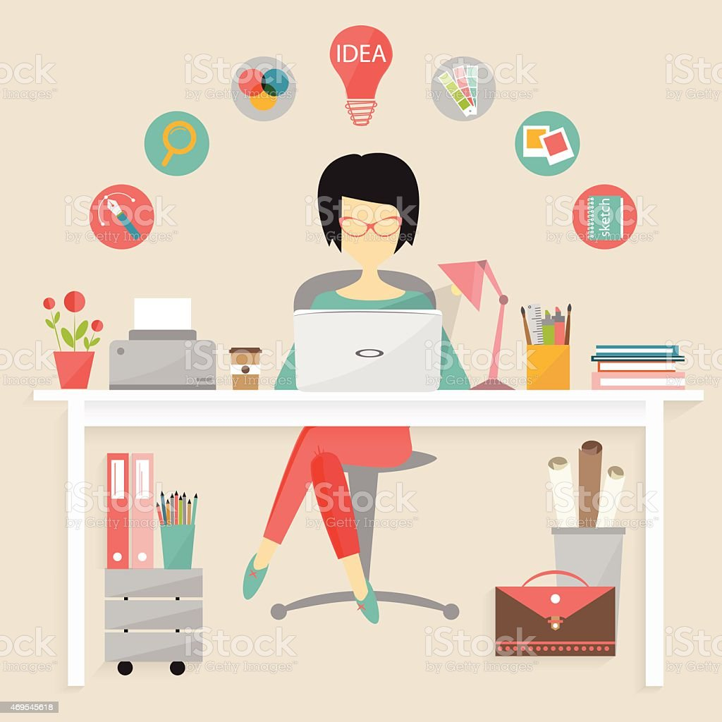 Cartoon of a graphic designer in a colorful office vector art illustration