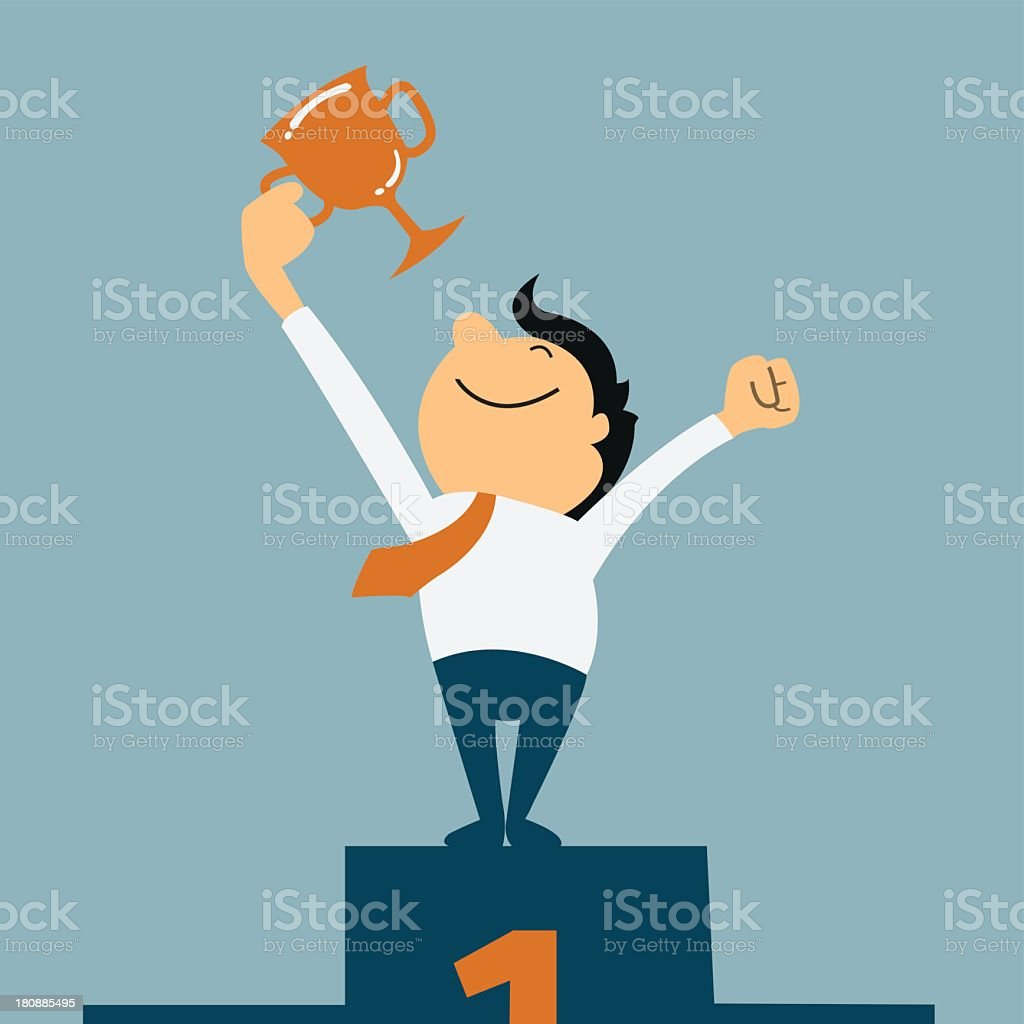 A cartoon of a guy with a trophy on a number one podium royalty-free stock vector art