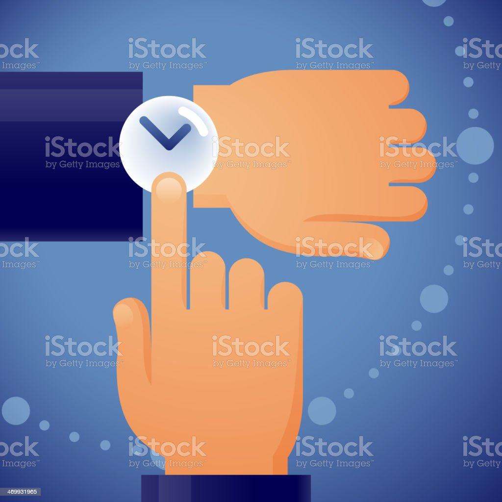 Cartoon of a hand checking his watch on blue background vector art illustration