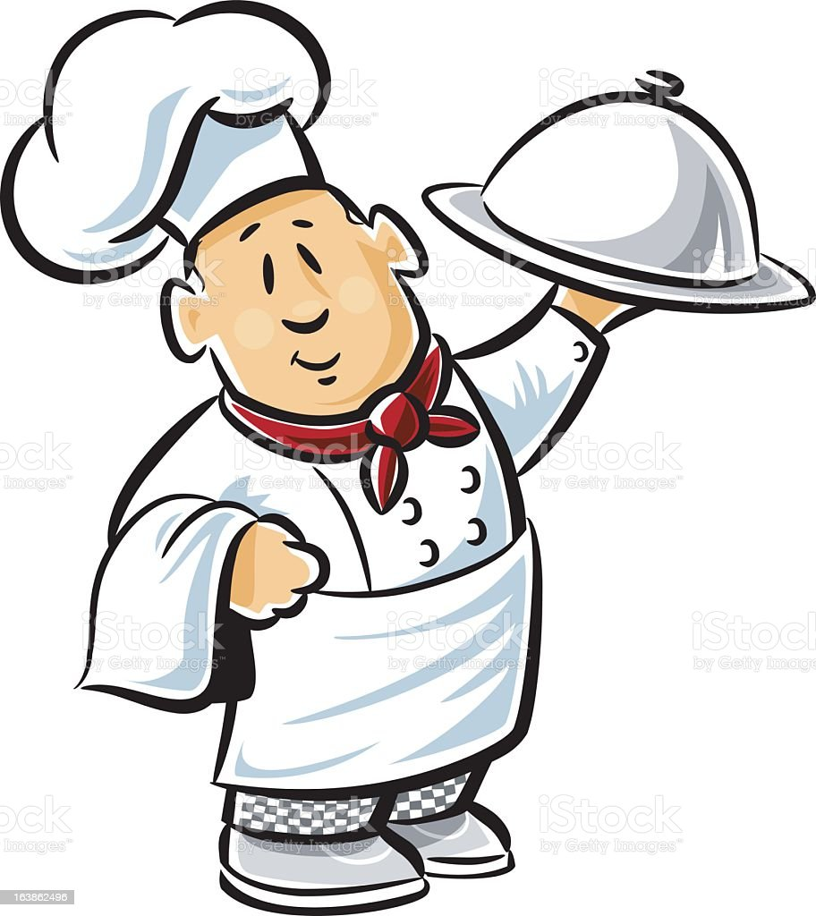 A cartoon of a happy chef carrying a meal  vector art illustration