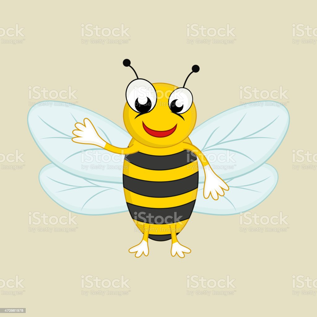 Cartoon of a happy honey bee. vector art illustration