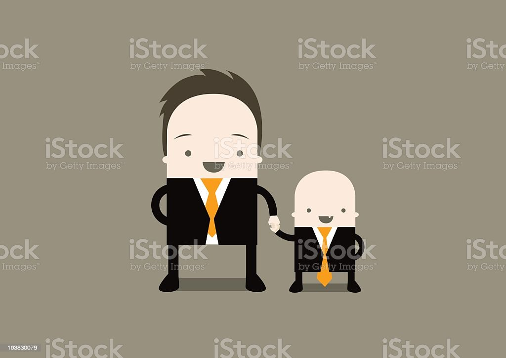 Cartoon of a man and his son representing family business vector art illustration