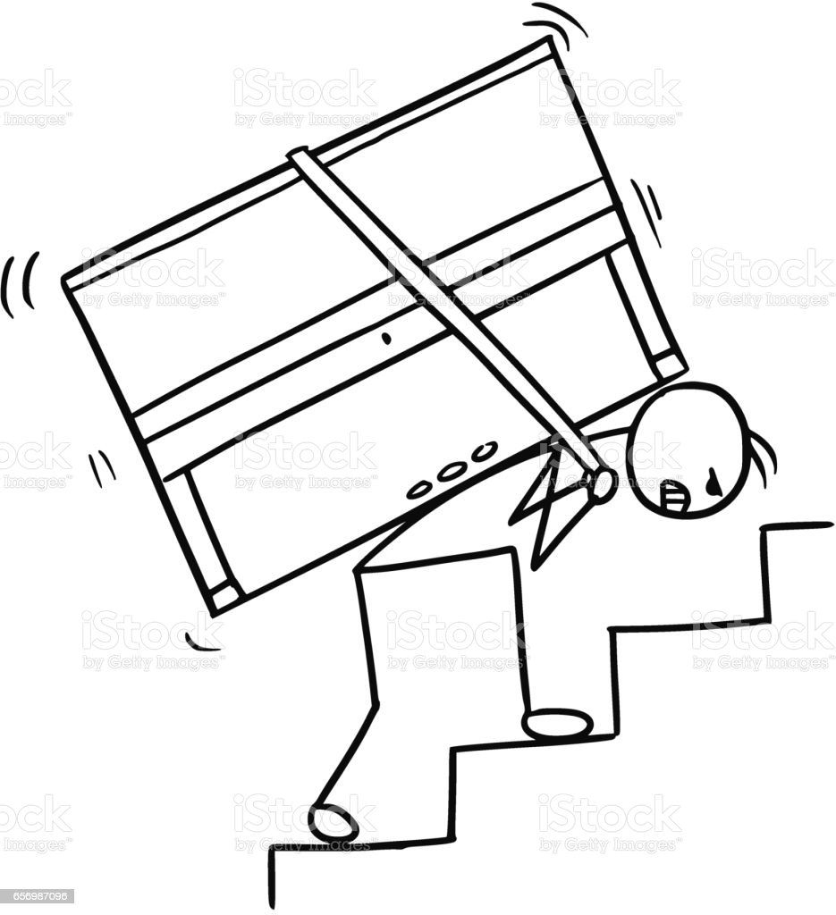 Cartoon of a Man Carrying a Piano up the Stairs vector art illustration