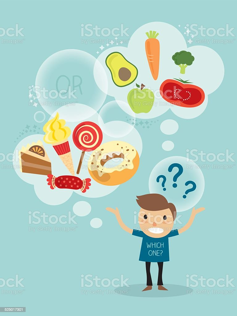 cartoon of a man choosing between healthy and fast food vector art illustration