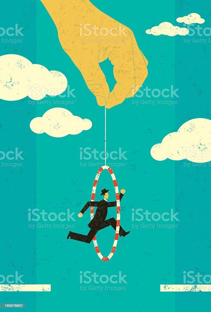 Cartoon of a man jumping through a hoop vector art illustration