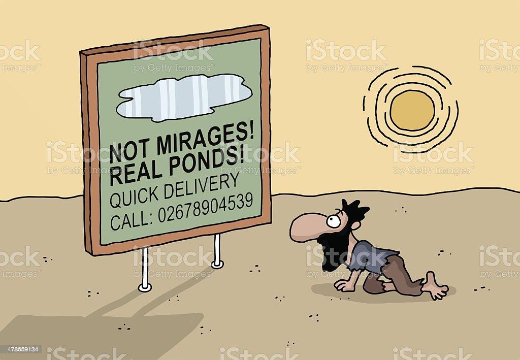 Cartoon of a man on desert alone vector art illustration