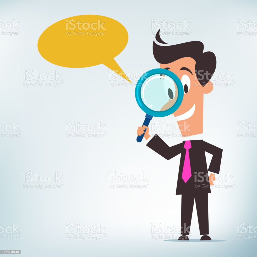 A cartoon of a man with a magnifying glass and speech bubble vector art illustration
