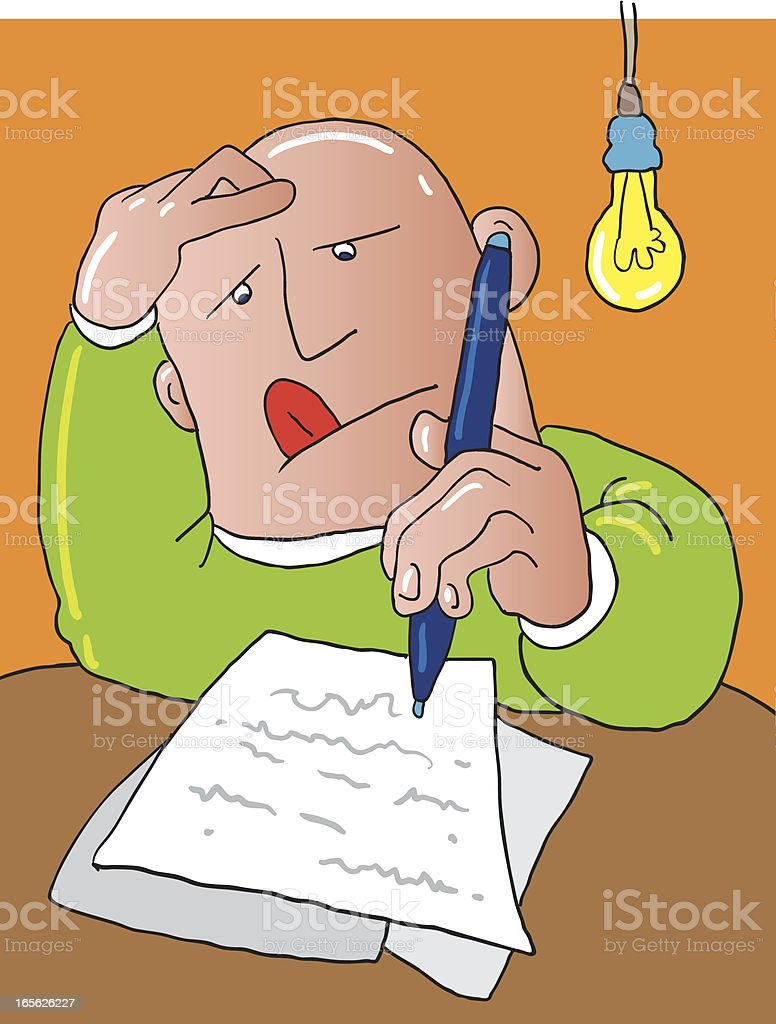 Cartoon of a man writing a letter vector art illustration