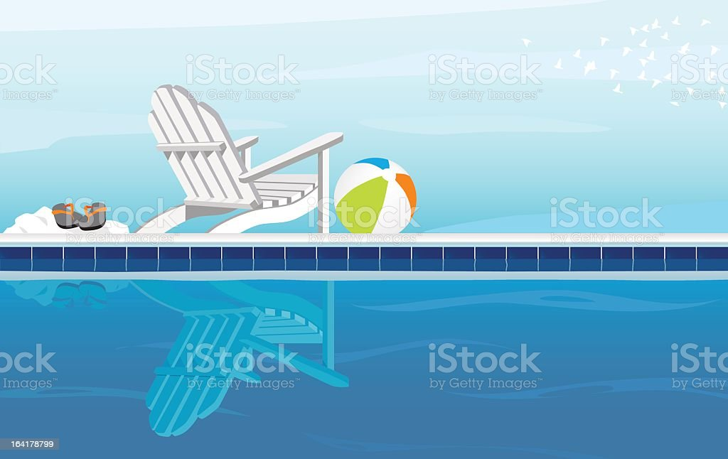 A cartoon of a pool on a cloudy day vector art illustration