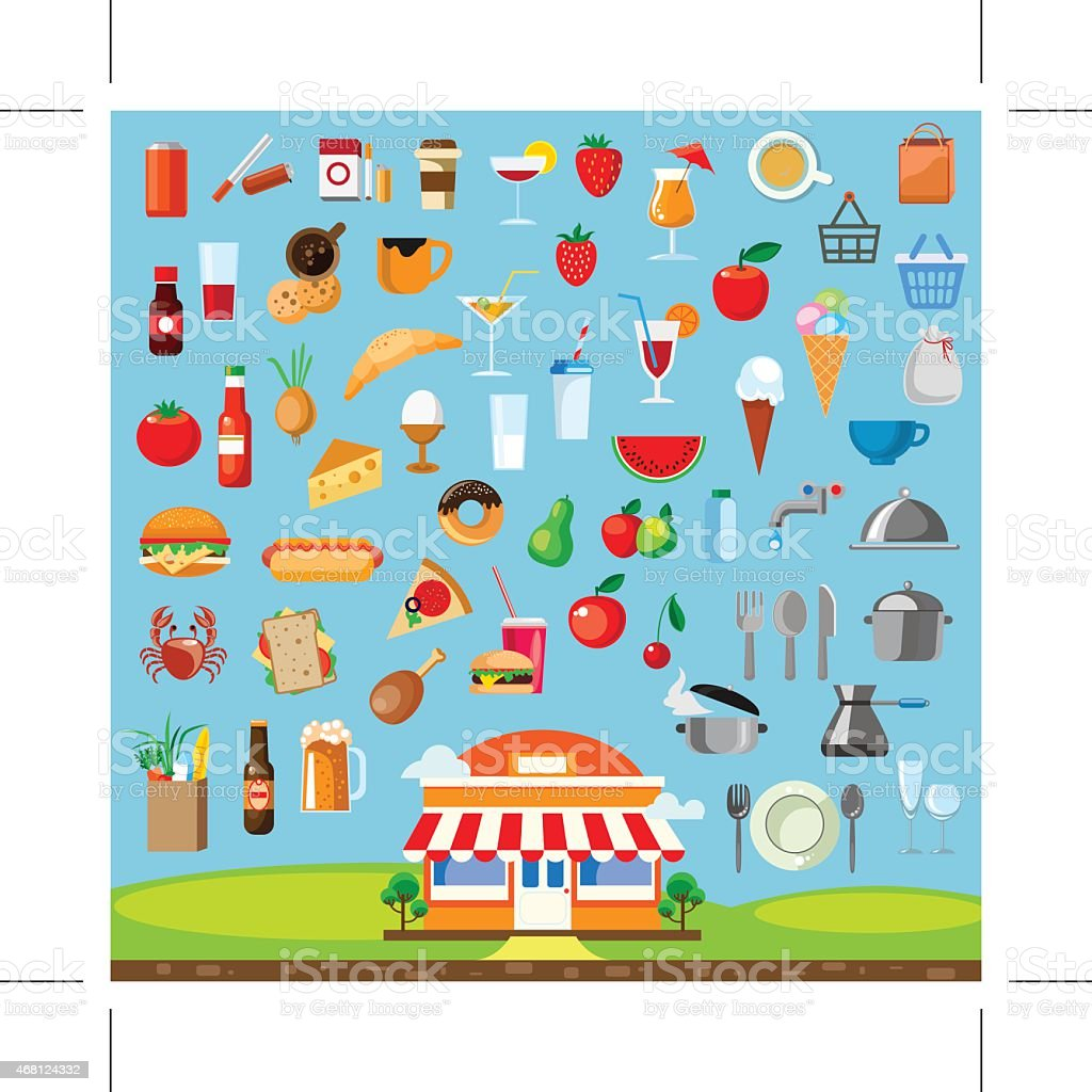 Cartoon of a restaurant under colorful food and drink icons vector art illustration