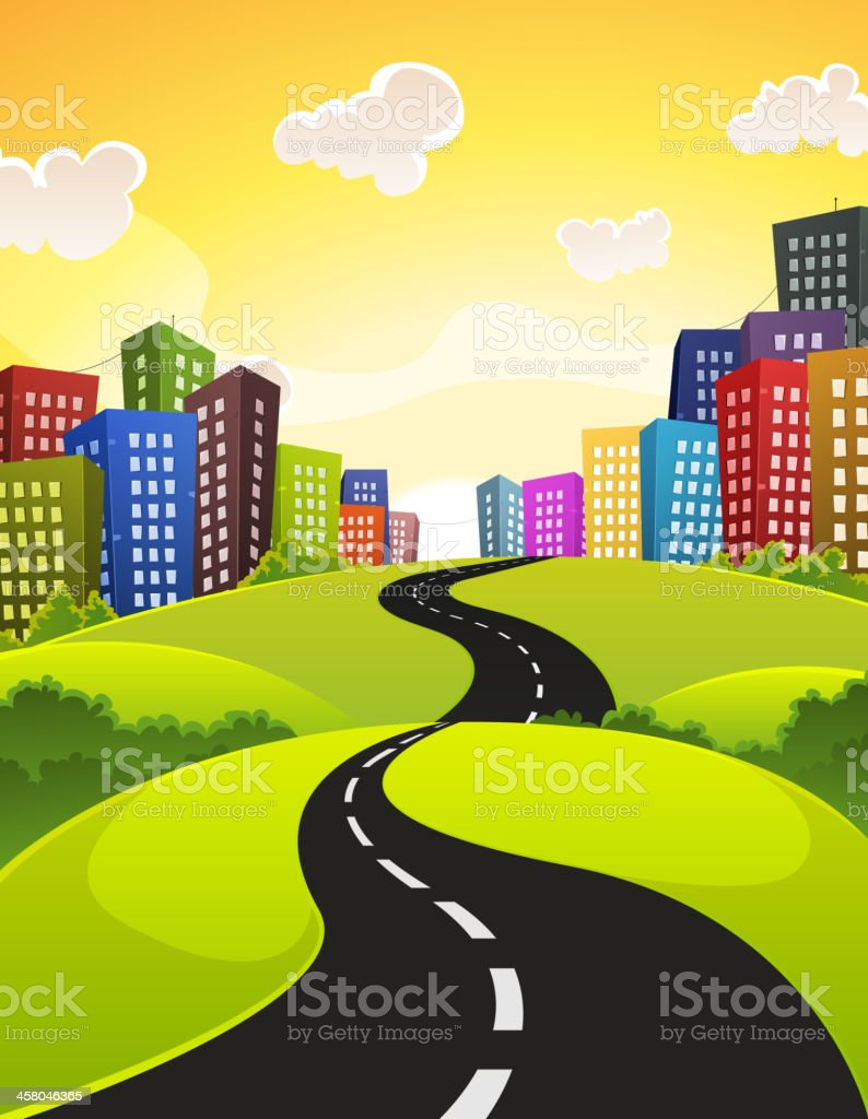 A cartoon of a road leading into a city royalty-free stock vector art