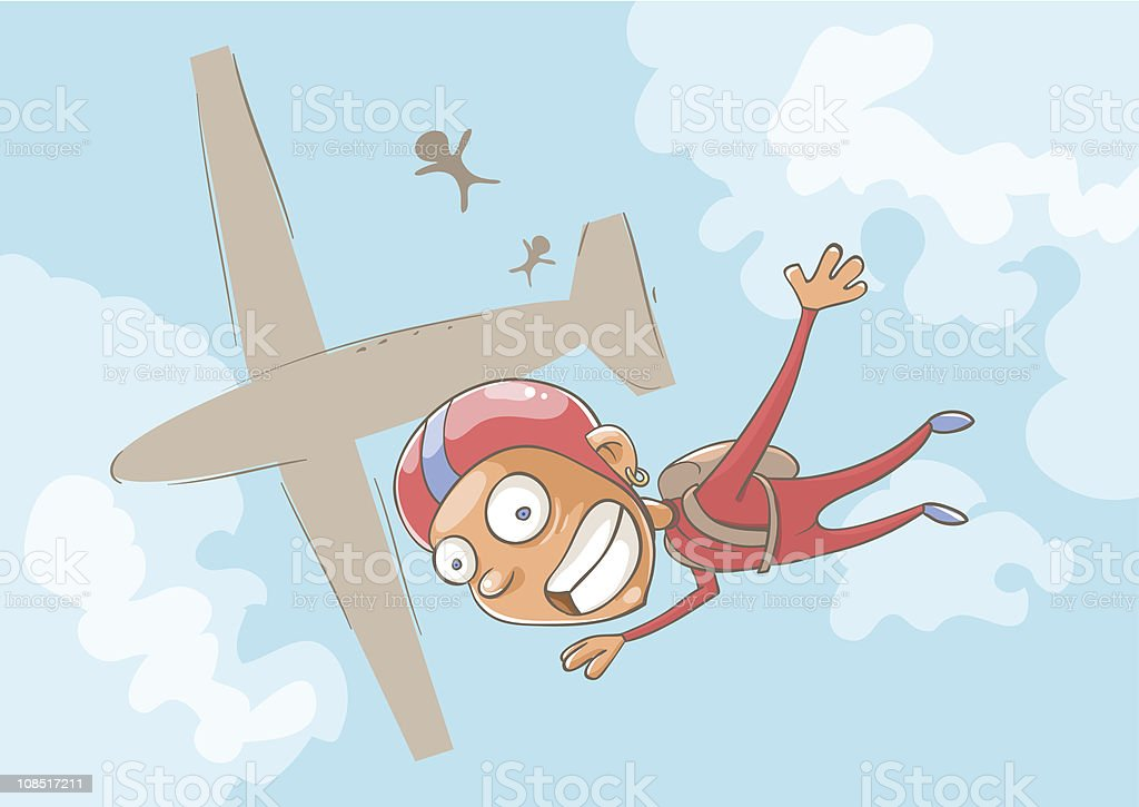 A cartoon of a skydiver who has just jumped from plane vector art illustration