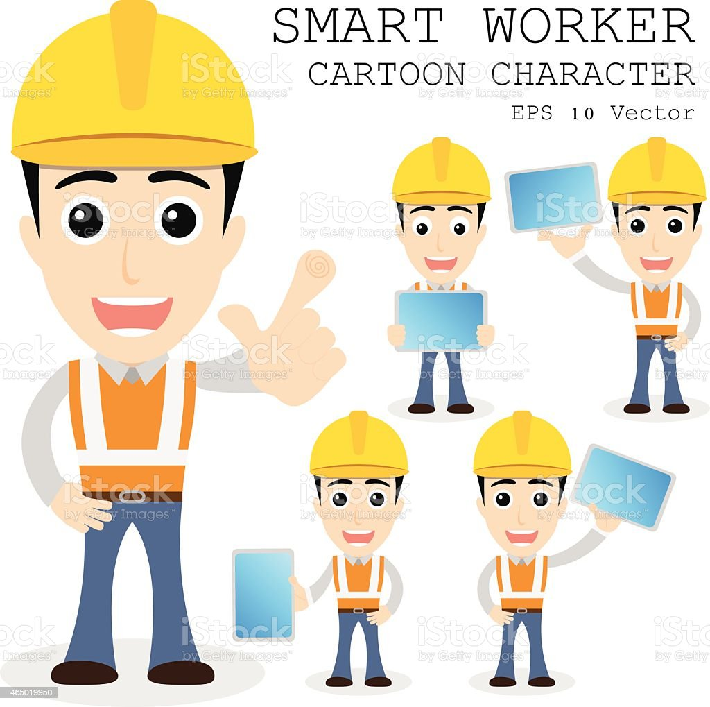 a cartoon of a smart worker a yellow hard hat stock vector 1 credit