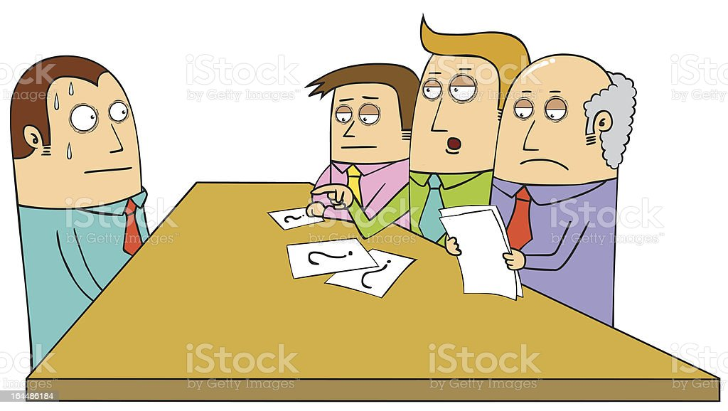 Cartoon of a sweating man having a job interview vector art illustration