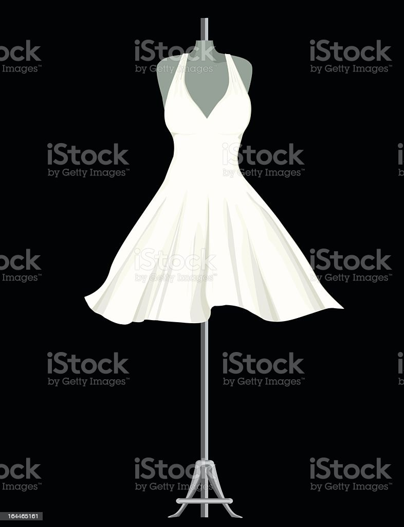 A cartoon of a white dress on a mannequin display vector art illustration